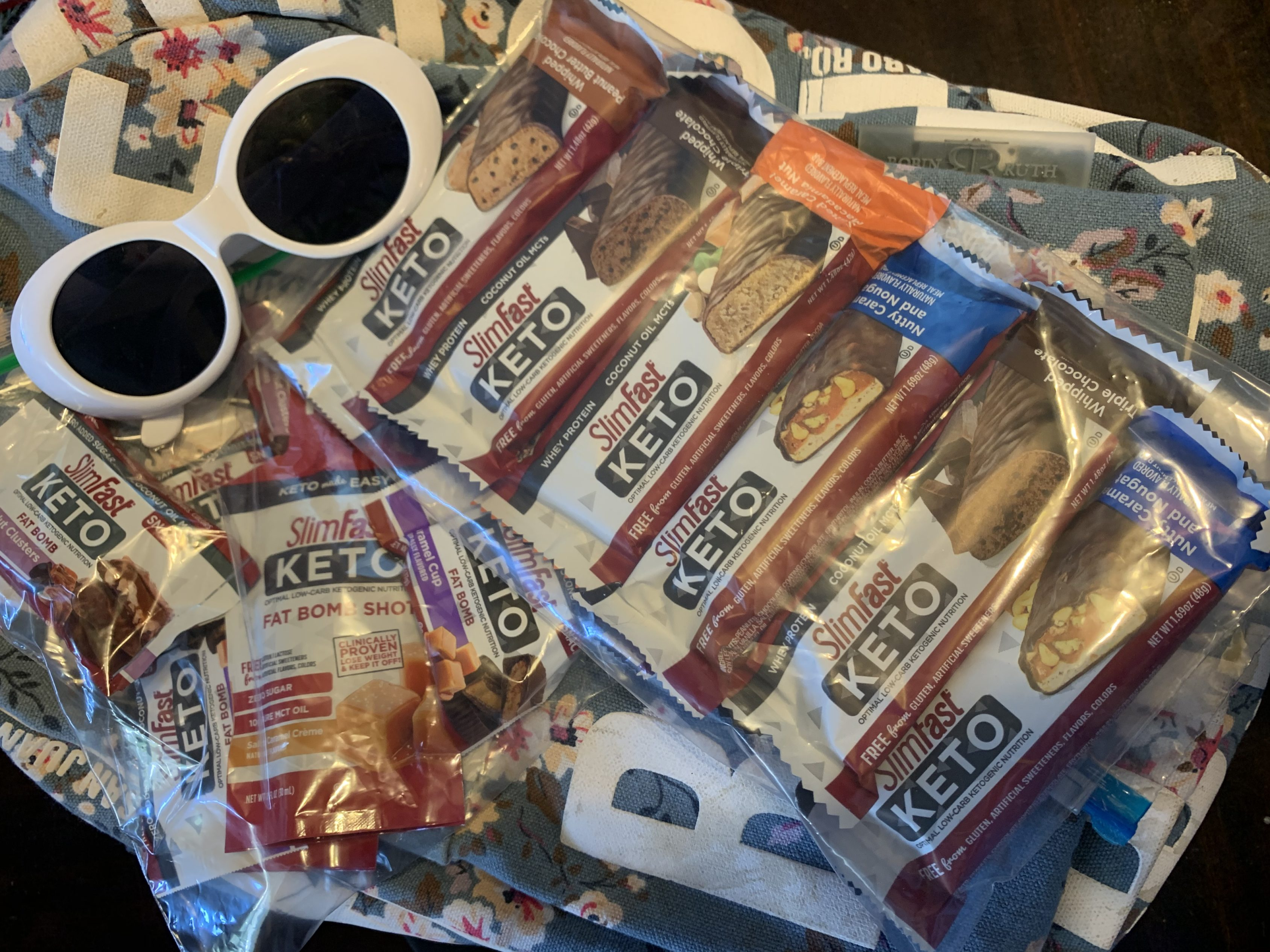 Bags full of SlimFast Keto products