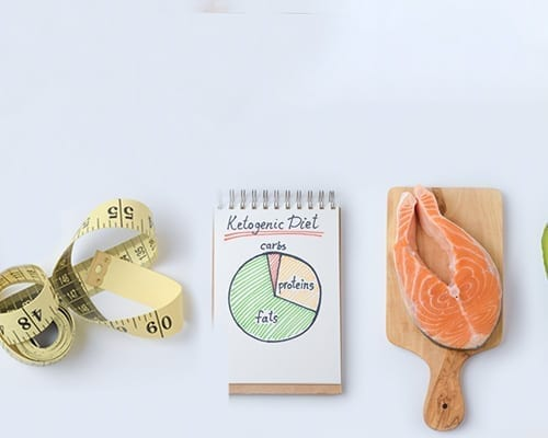 SlimFast Keto Tips for Success header with salmon, Keto diet chart, and measuring tape.