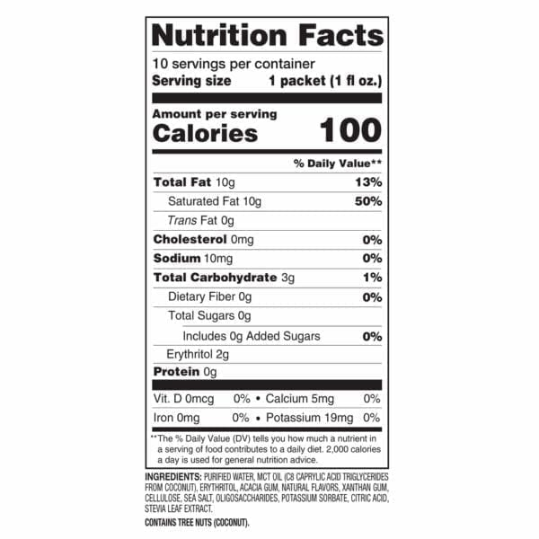 Nutrition Facts Label for Keto Orange Creme Fat Bomb Shots. 1 serving is 100 calories.