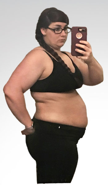 "Tonia before losing 90 lbs. and 25"" in 48 weeks"